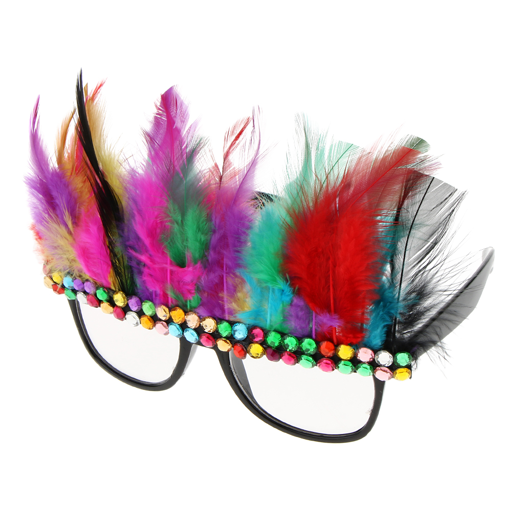 Christmas Party Glasses Multicolor Feather Crystal Eyeglasses Funny Costume
