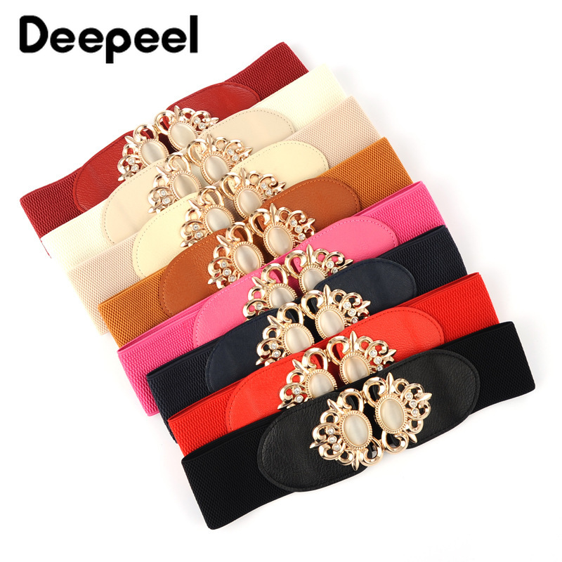 Deepeel Fashion Luxury Gemstone Decorative Buckle Elastic Cummerbunds High-quality Elastic Band Belts For Women Coat Accessory