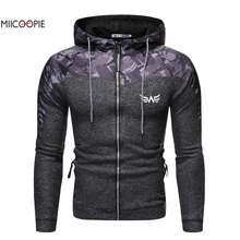 Miicoopie 2019 Mens Hoodie Patchwork Camo Print Fashion Pullover Sweatshirt Outdoor Sport Wear camo print mixed