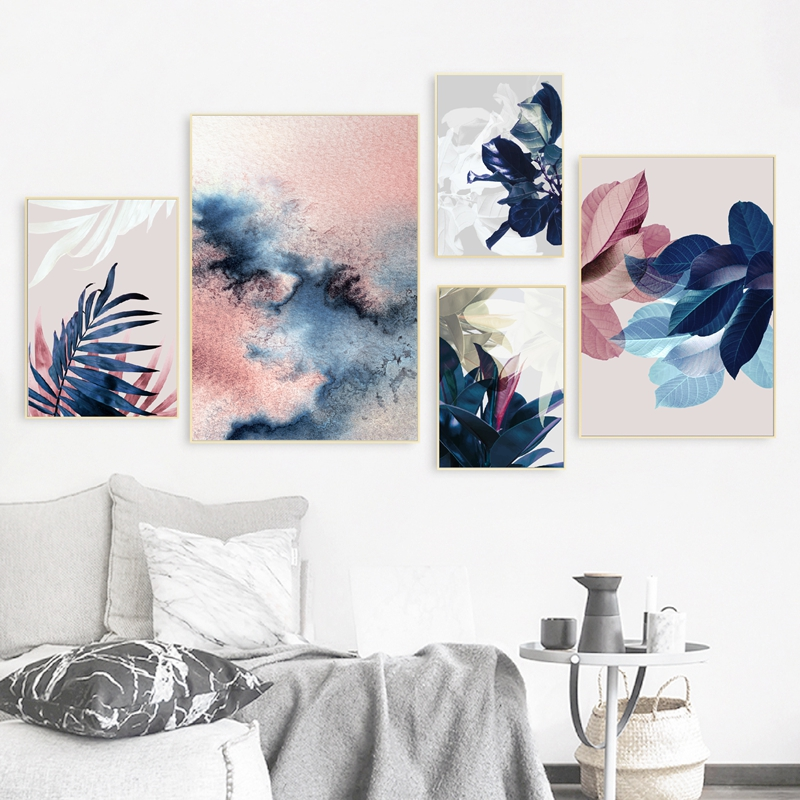 Abstract Watercolor Leaves Prints Home Decor