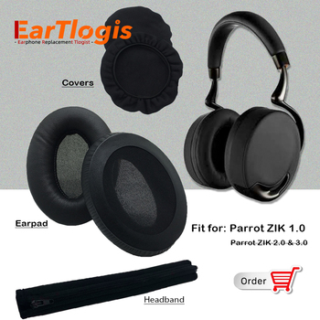 EarTlogis Replacement Parts for Parrot ZIK 1.0 Headset Earpads Earmuff Stretch Cover Cushion Cups pillow Bumper Headband Sleeve
