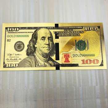100 Dollar USA Gold Fake Banknote Currency Bill Paper Money Medal 24k United States OF America chirstmas gift Gold banknotes image