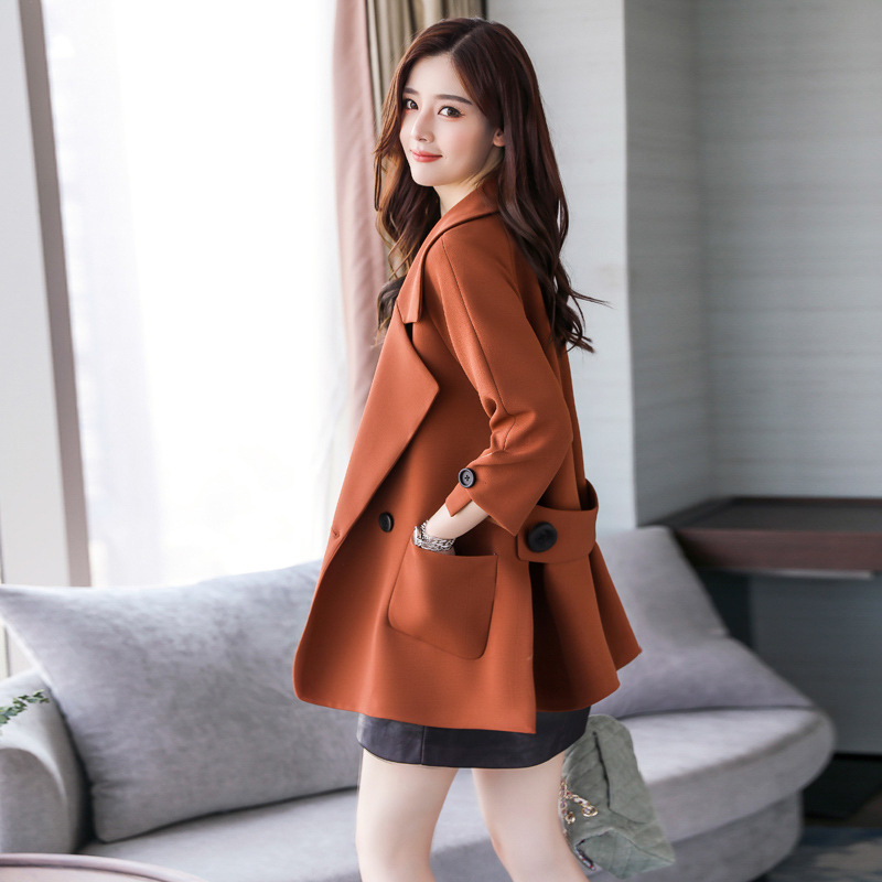 Autumn jacket women M-2XL plus size pink green beige coat 19 new long sleeve lapel fashion short paragraph jacket feminina LR484 37