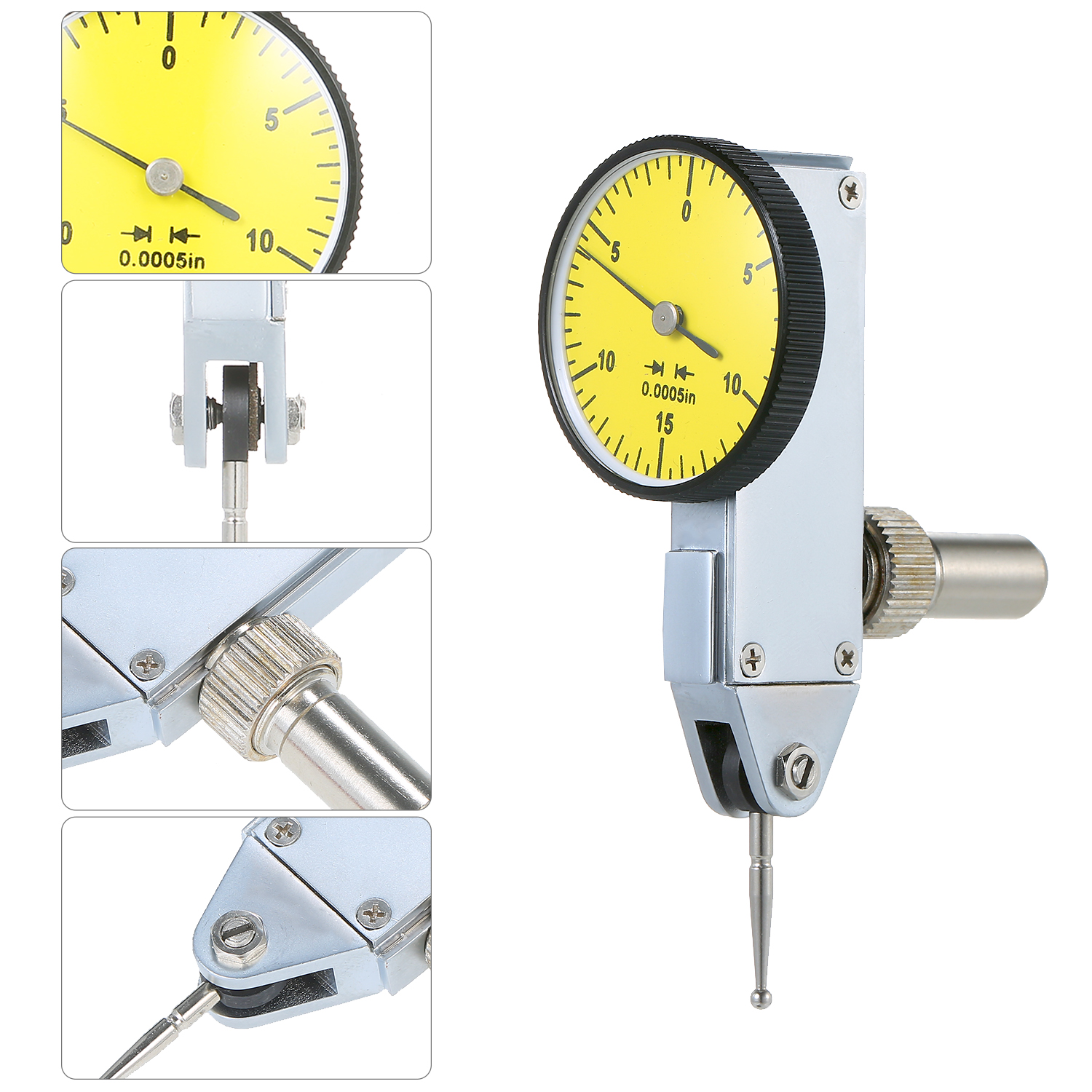 """Precision 0.030/"""" Test Indicator 0 0005/"""" GR Dial Reading 0-15-0 Yellow New"""