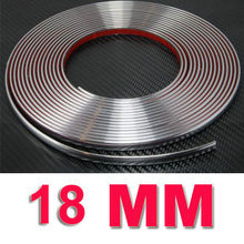 18mm*15m Car Chrome Moulding Trim strip high quality silver Soft PVC with chrome treatment auto bumper fender protector Strips