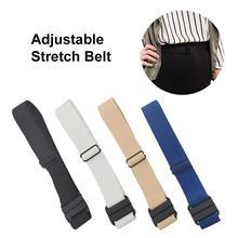 Adjustable Stretch Belt No Show Flat Buckle Non-Slip Backing Simple Elastic for Women Men
