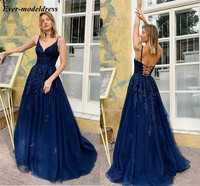 Elegant Navy Blue Lace Prom Dresses Long 2020 Spaghetti Appliques Corset Back Formal Evening Celebrity Occasion Gowns Vestidos