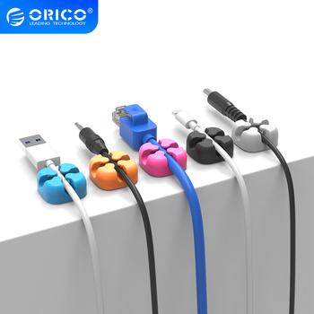ORICO kolorowe oplot na kable organizator do przewodów słuchawki z kablem USB uchwyt do zarządzania przewodami Protector tanie i dobre opinie Silikon Square 23*23*10mm ORICO CBSX ORICO Cable Management Gray Blue Orange Red Black Silica gel Cable winder Cable holder