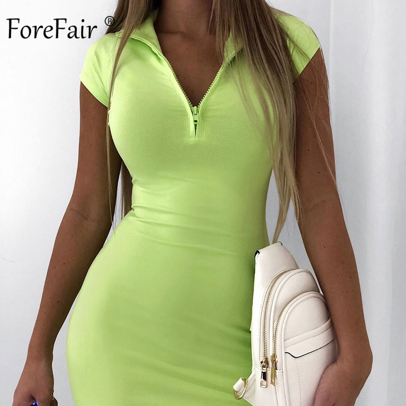 Forefair Sexy Mini Dress Neon Zip Short Sleeve Bodycon Slim Turtleneck Streetwear Orange Party Club Women Summer Dress