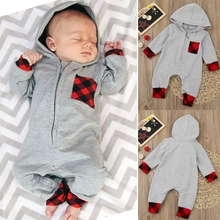 Children Rompers Newborn Baby Boy Girl Plaid Hooded Jumpsuit Outfits Clothes Winter Romper