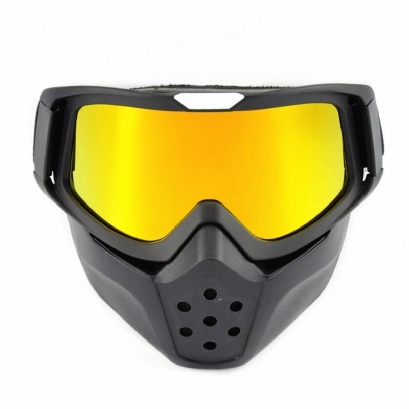 Moto motocross masque facial avec lunettes détachables anti-buée lunettes chaudes moto pour casque rétro Harley