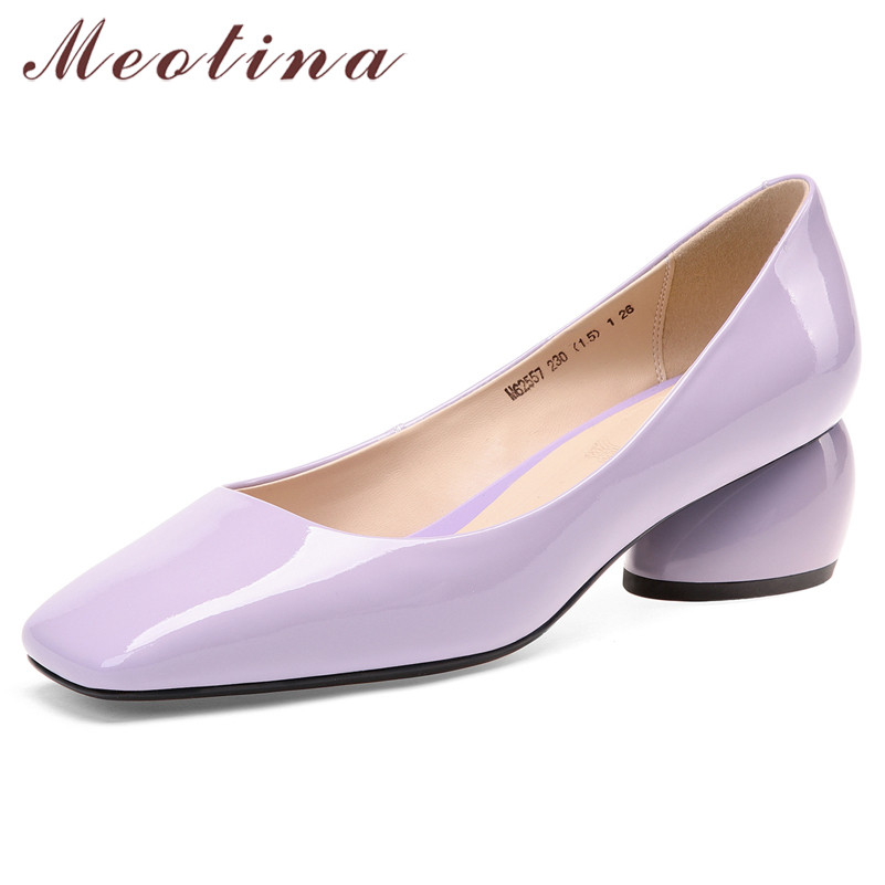 Meotina High Heels Women Pumps Natural Genuine Leather Strange Style Heel Shoes Cow Patent Leather Square Toe Shoes Lady Size 39