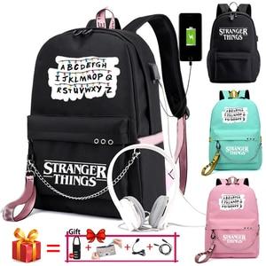 Image 1 - Nouveau étranger choses toile sac à dos USB Charge femmes étudiant sac à dos lettres imprimer sac décole adolescent filles rubans sac à dos