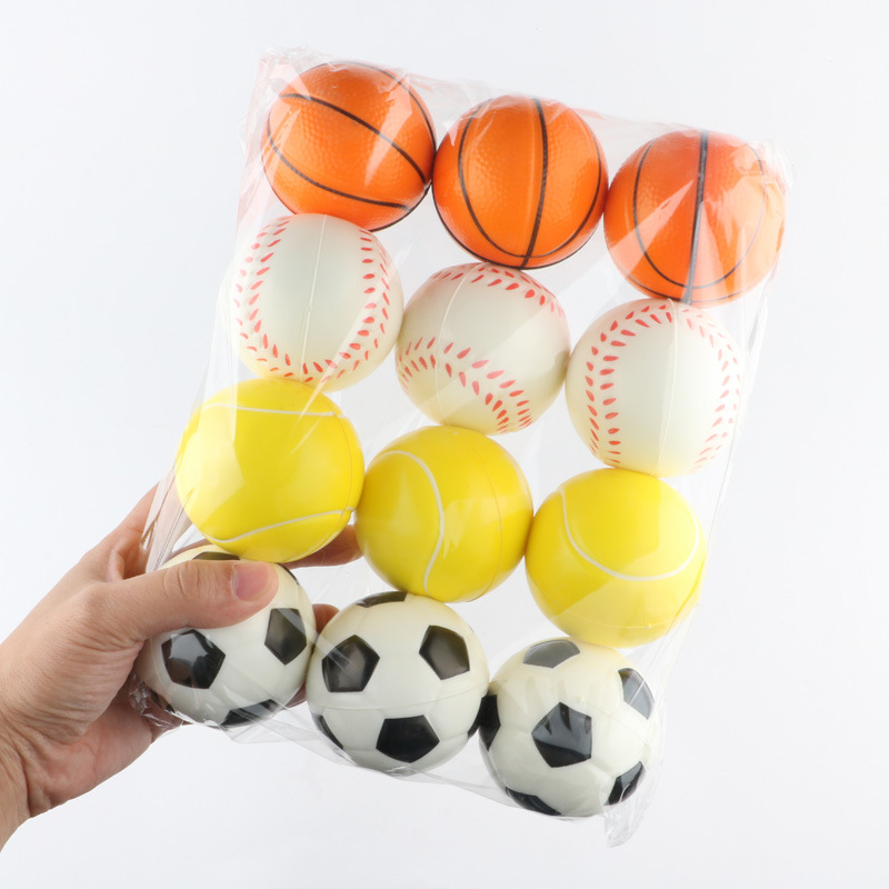6.3cm Soft Foam Anti Stress Relief Squeeze Balls Toy Football Basketball Baseball Tennis Funny Toys For Kids Children 6pcs