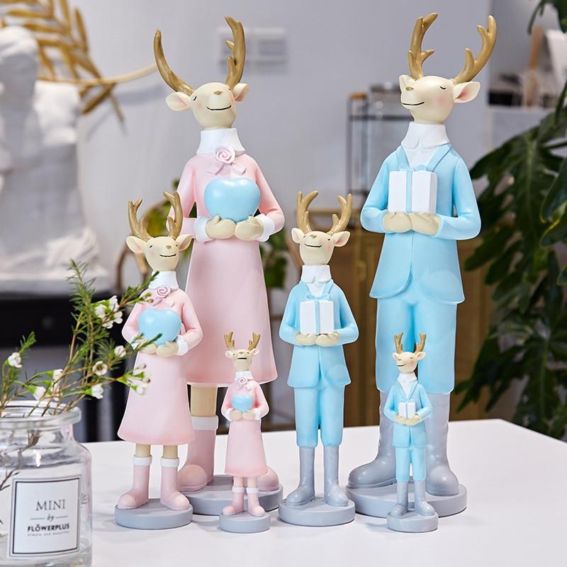 새로운 스타일의 크리스마스 선물 수지 장난감 엘크 인형 장식 인형 사슴 홈 장식 어머니 선물 사슴 그림 장식