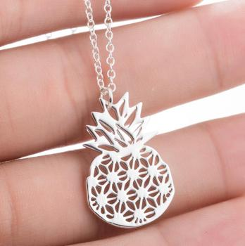 Men Women Punk Stainless Steel Pendant Necklace Cult Simple Fruit Pineapple Necklace Jewelry Christmas Holiday Gift Bijoux image
