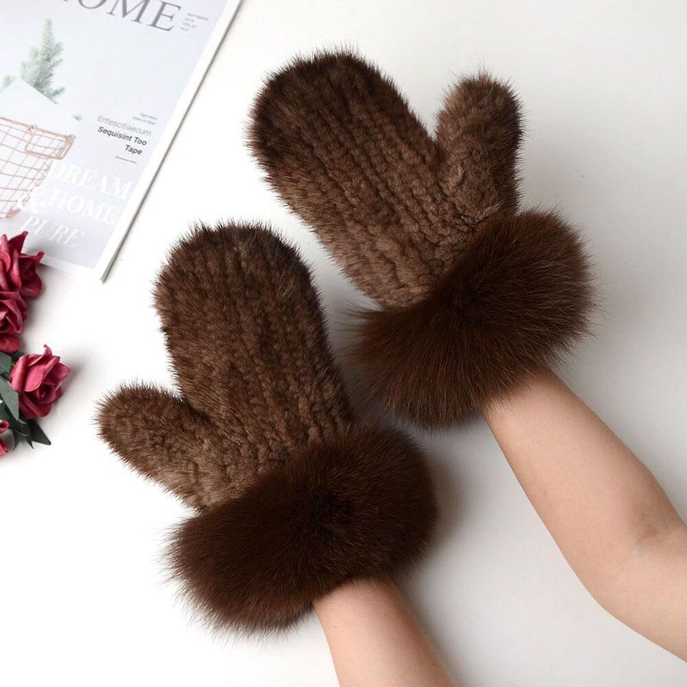 Новинка 2019, женские вязаные перчатки из меха норки, зимние теплые уличные меховые перчатки из меха лисы, HN281 - 5