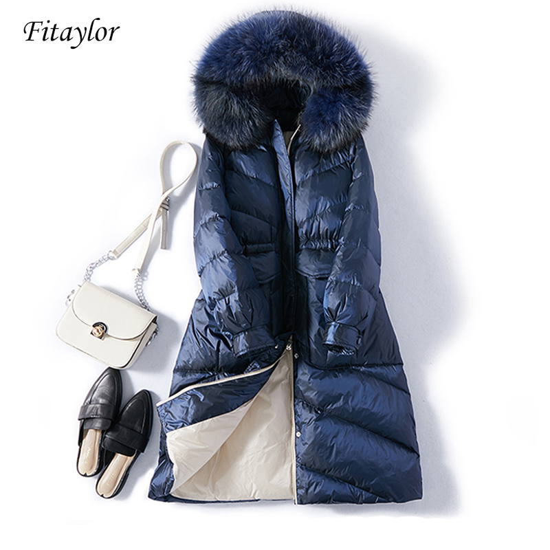 Fitaylor New Women Warm   Down     Coat   Winter Real Fur Hooded White Duck   Down   Parkas Meidum Long Snow Jackets Outwear