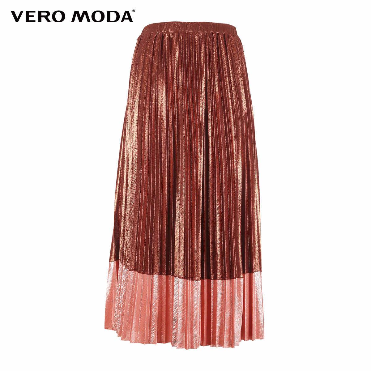 Vero Moda 2019 nowości metalowa tkanina kontrastowa plisowana spódnica | 318416507