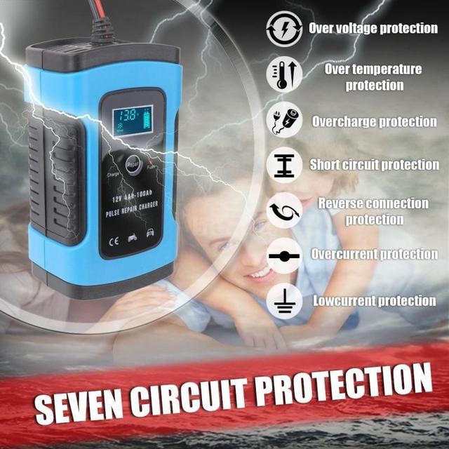 12V 6A Full Automatic Car Battery Charger Intelligent Fast Power Charging Pulse Repair Chargers Wet Dry Lead Acid Battery-charge