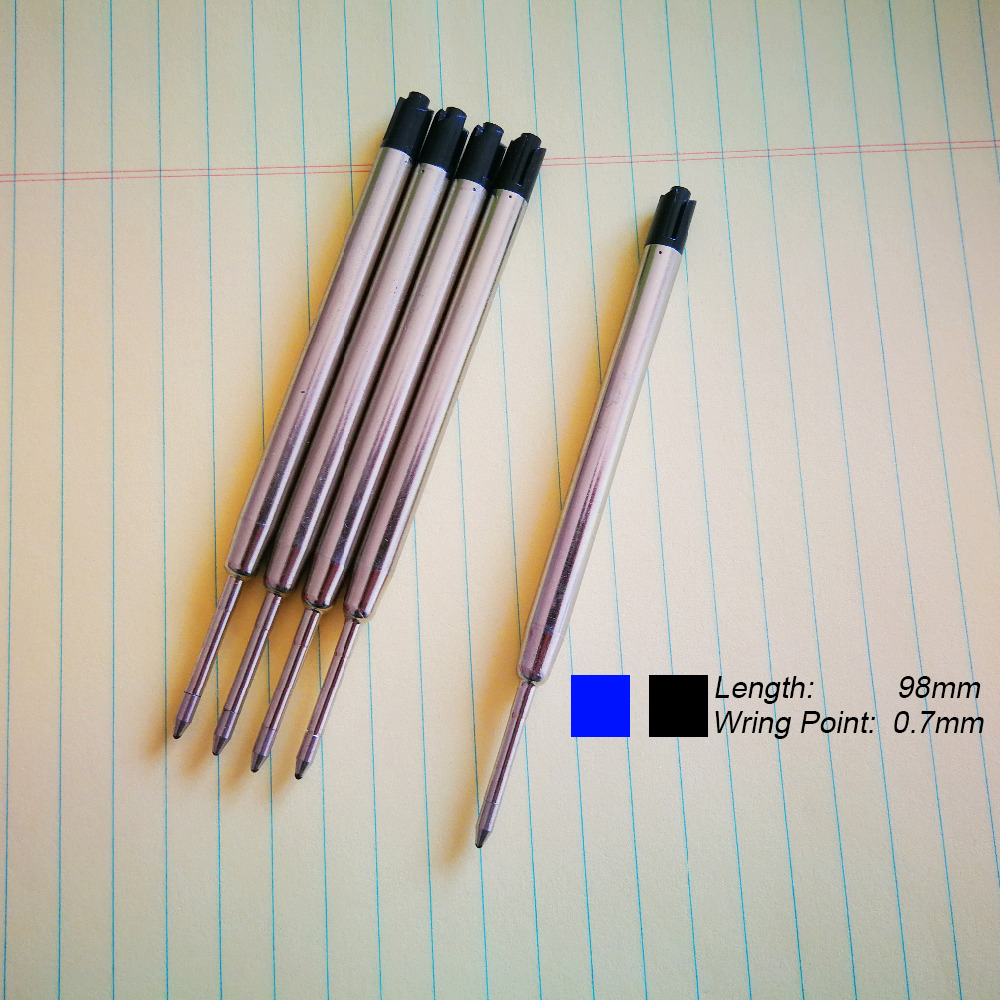 5pcs/lot Ballpoint Pen Refill 0.7MM Blue Black Ink Roller Ball Refills For Writing Office School Supples