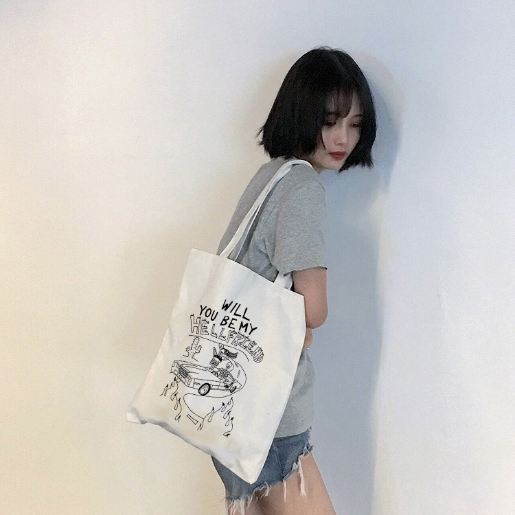 Goth Dark Aesthetic Print  Women Canvas Bags Female Gothic Shopping Eco Reusable Foldable Shoulder Bag Harajuku Handbag Tote
