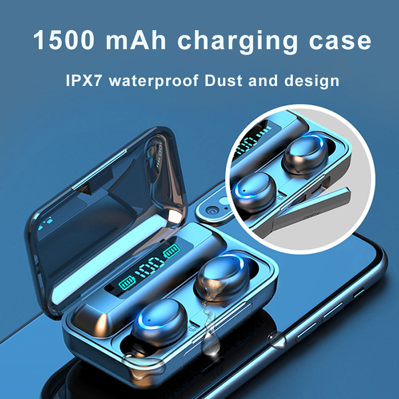 Ottwn F9 TWS Bluetooth Earphone 5.0 8D Stereo Wireless Earbuds With 1500mAh Charging Box IPX7 Waterproof Touch Sport Earphones