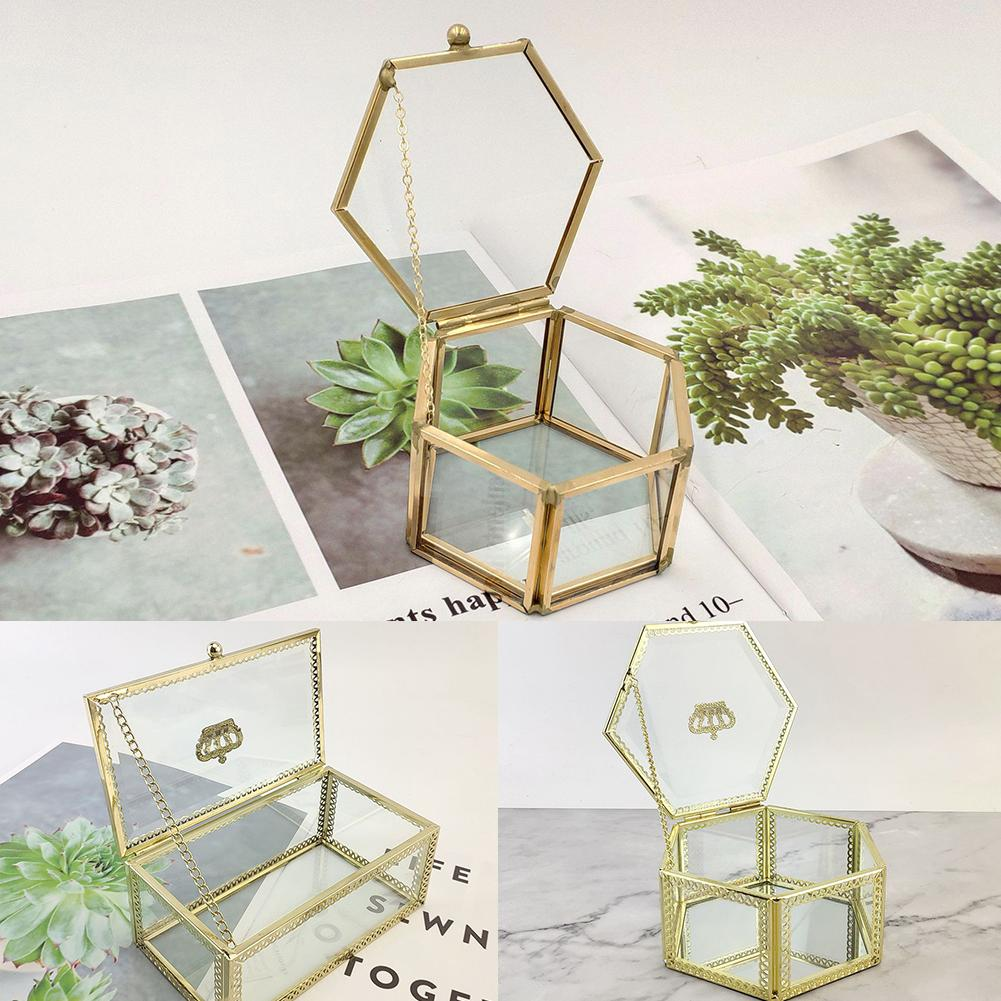 Nordic Style Geometric Transparent Glass Flower Room Wedding Ring Box Jewelry Box Eternal Flower Glass Cover Gift Boxes 30E