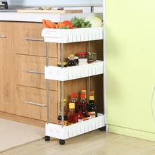 JFBL Hot 3 Tier Slim Storage Cart Mobile Shelving Unit Slide Out Storage Tower for Kitchen Bathroom Laundry Room Narrow Places(W(China)