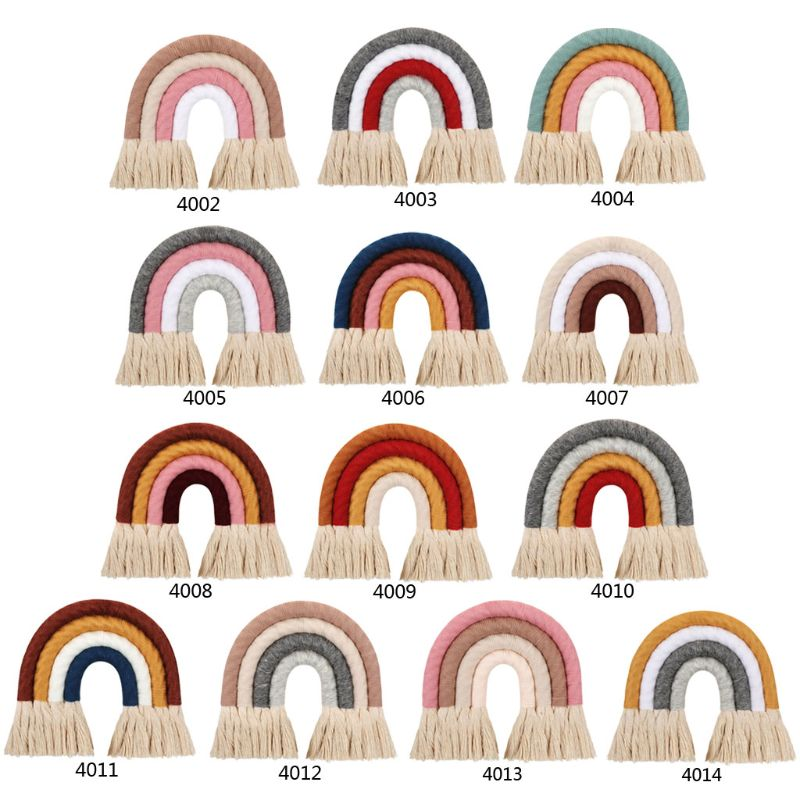 INS Nordic Home Weaving Hand-Woven Rainbow Tapestry Cotton Tassel Wall Hanging Toy Baby Girls Room Decor Nursery Home Decor