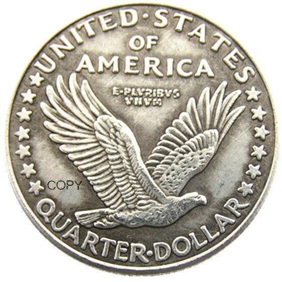 Us 1916 pé liberty quarter prata chapeado cópia moeda (tipo 1)