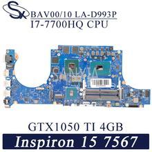 KEFU BAV00 10 LA-D993P Laptop płyta główna dla Dell Inspiron 15 Gaming 7567 mistrz oryginalna płyta główna I7-7700HQ GTX1050TI-4GB tanie tanio Brak NONE NVIDIA Pokładzie PROCESORA Używane CN (pochodzenie) Podwójne Intel Niezintegrowanych