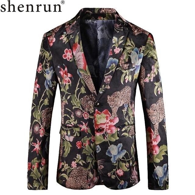 Shenrun Mannen Bloemen Blazer Jas Mode Luipaard Patroon Casual Blazers Bloem Jassen Voor Mannen Prom Stage Kostuum Plus Size 5XL