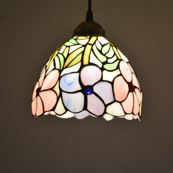 Tiffany Pendant Light Stained Glass Lampshade Frangipani Country Style Kitchen Bedroom Restaurant Suspension Lamp