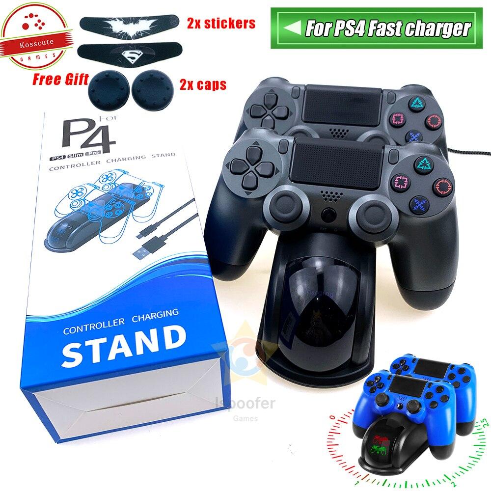Зарядная док-станция для контроллера PS4, быстрая зарядка, двойная зарядная подставка с отображением состояния экрана для Play Station 4/PS4 Slim/PS4 Pro
