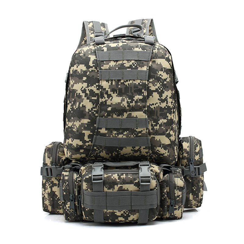 Army Camouflage Large-Volume Combination Backpack Mountaineering Bag Outdoor Camping Travel Bag Multi-functional Hiking Tactical