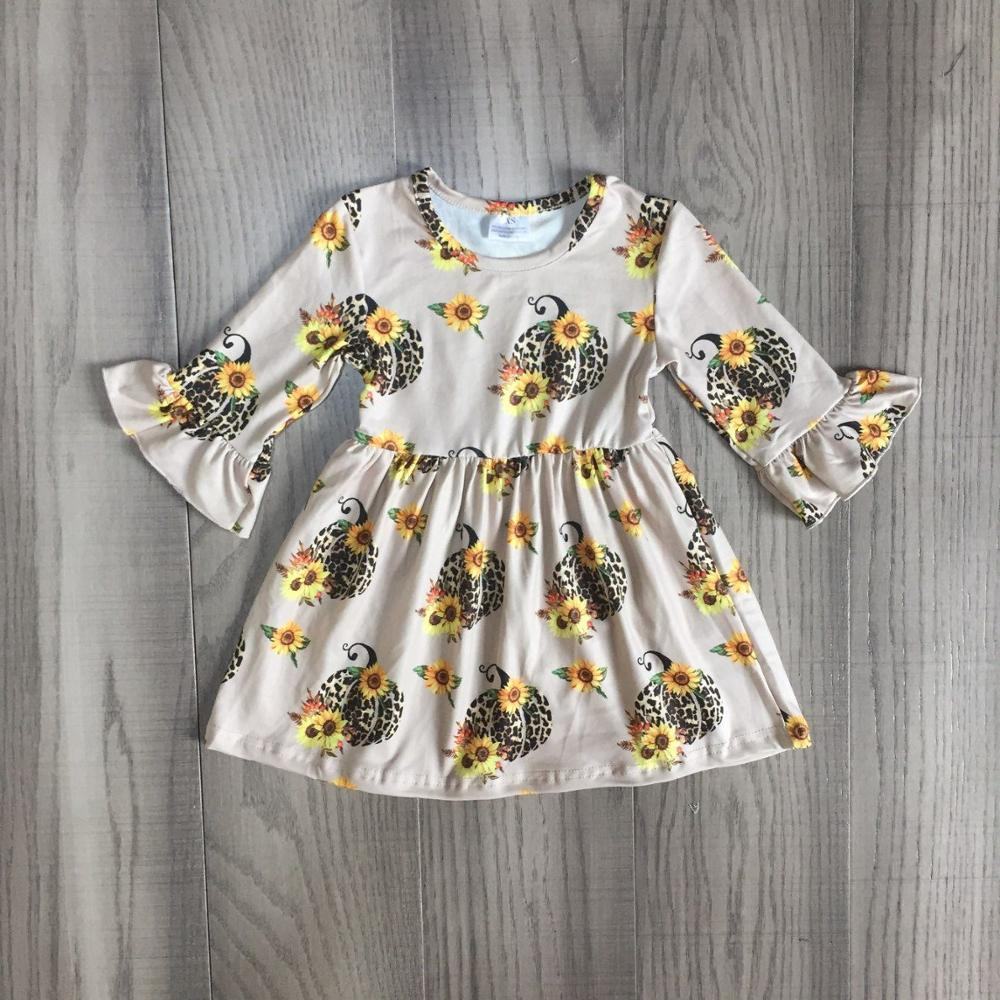 DRESS Girls Pumpkins Sunflower Long-Sleeve Leopard-Print Children Fall/autumn with Cute