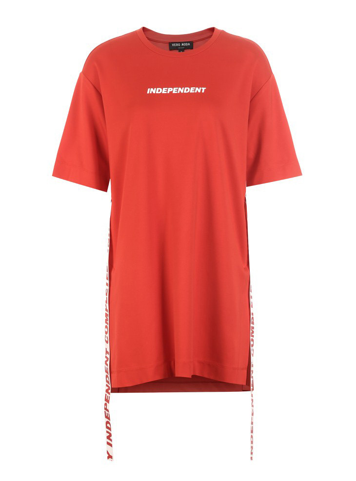 WOMEN'S Dress 2019 Spring New Style Online Celebrity Celebrity Style Decorative Ribbon Mid-length T-shirt Women's 3191t1502