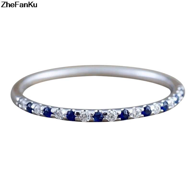 Silver Wedding Engagement Band Thin Ring Fashion Cubic Zirconia Rings For Women Blue Crystal Fashion Jewelry