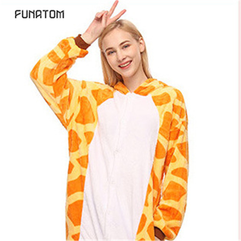 2019 Winter Animal Pajamas Giraffe Stitch Unicornio Sleepwear Pink Unicorn Sets Women Men Unisex Adult Flannel Panda Nightie