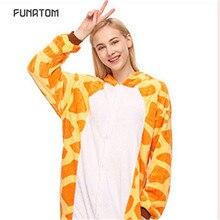 2019 Winter Animal Pajamas Giraffe Stitch unicornio Sleepwear Pink Unicorn Sets Women Men Unisex Adult Flannel panda Nightie