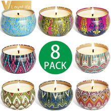 Scented-Candles Soy-Wax Tin Gift Relief Travel Sleeping-Stress Natural Portable 8PCS