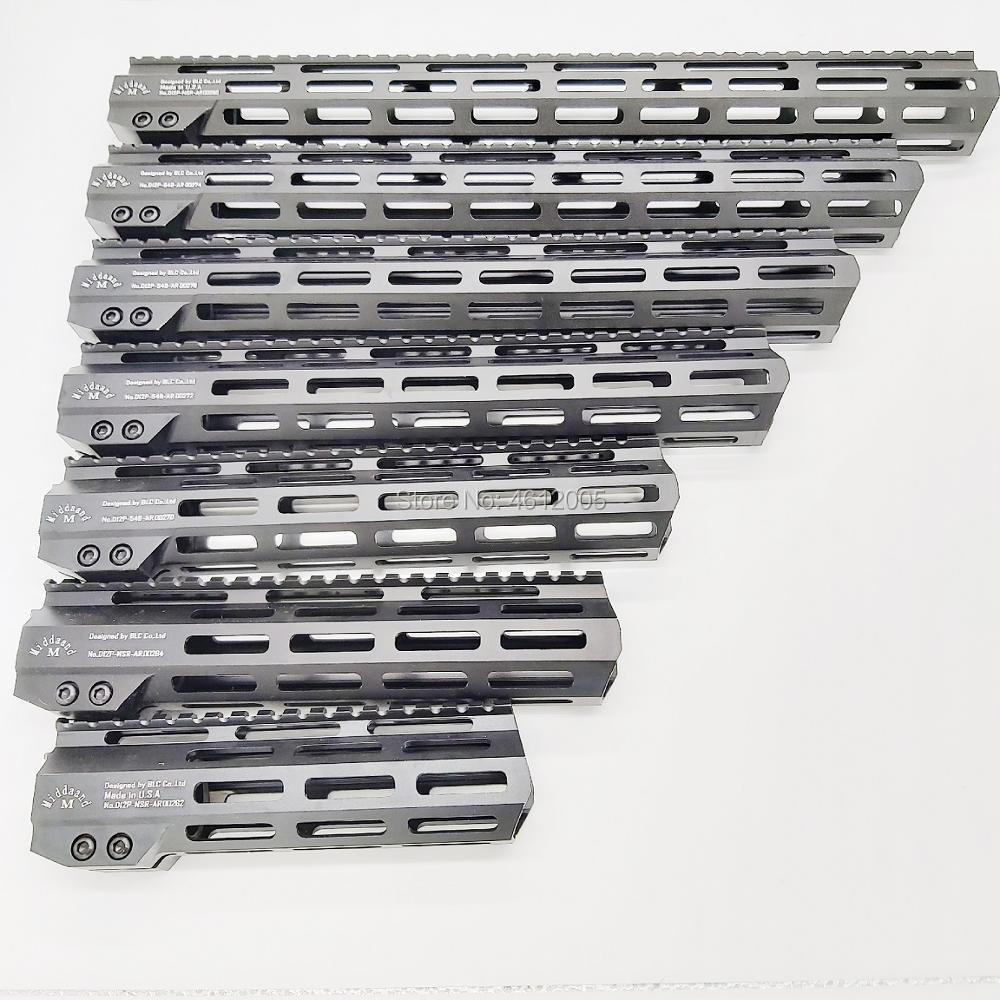 MLOK Handguard Free Float Super Slim Ar 15 Handguard Quad Rail Steel Nut .223 For AR 15 M4 M16 7 9 10 12 13.5 15 17 19 22 Inch