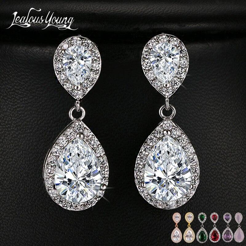 Женские длинные серьги-капельки с прозрачными кристаллами, цвета белое/розовое/желтое золото, ослепительный свадебный подарок, AE331