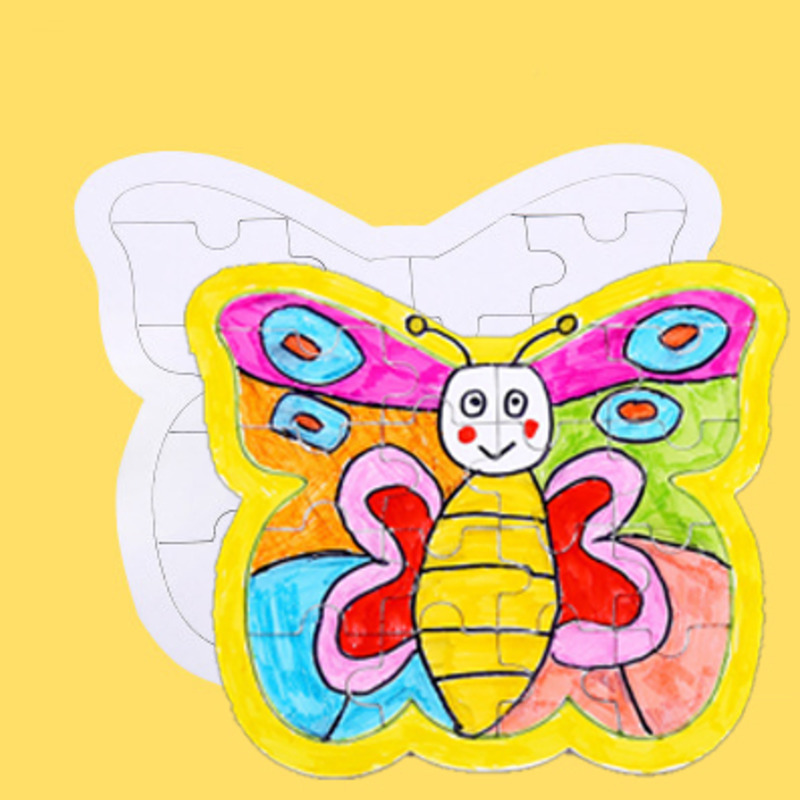 DIY Blank Coloring Puzzle For Children Paper White Mold Board Girl Gift Production Puzzle Painting Butterfly Educational Toy