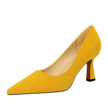 2020 Women Yellow High Heels Faux Suede Pumps Lady High Heels Sexy Pointed Toe Blue Yellow Office Party Shoes K0305 qianruiti hot sale faux suede thin heels women shoes sexy pointed toe women pumps red blue fox fur pom poms high heels shoes