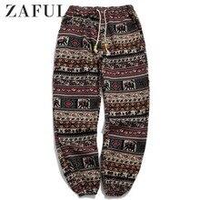 Мужские штаны для бега с этническим принтом, длинные штаны со средней талией, зимняя уличная одежда, хип-хоп штаны на шнурке