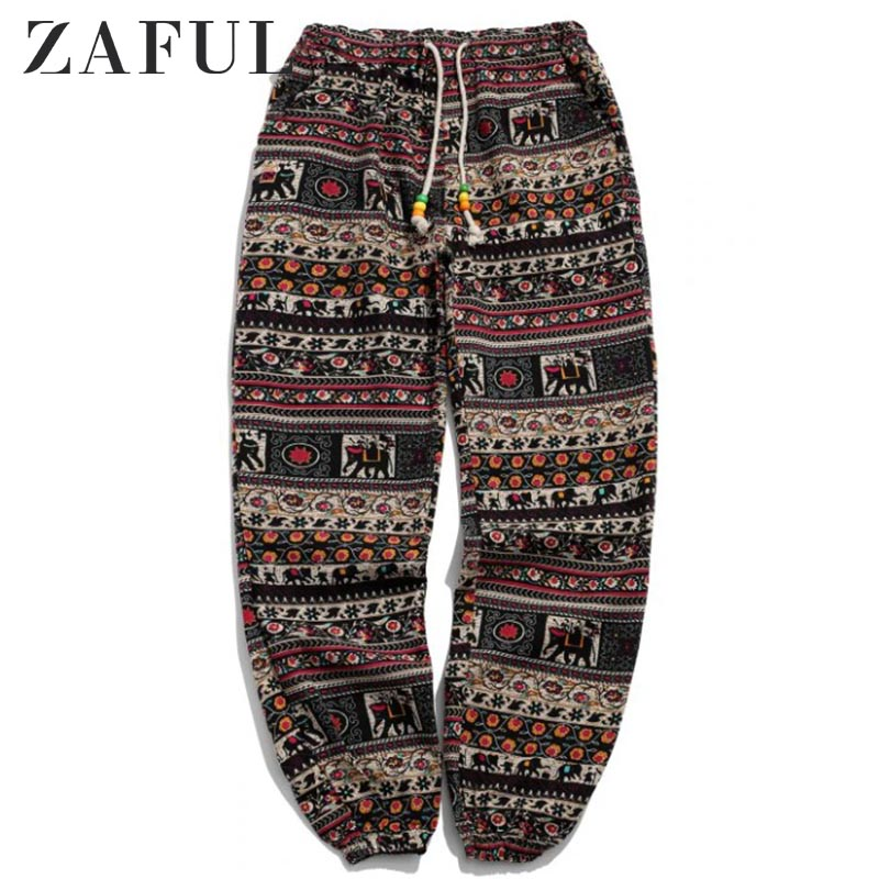 ZAFUL Ethnic Tribal Ditsy Graphic Print Jogger Pants Men Mid Waist Long Pants 2019 Winter Streetwear Hip Pop Drawstring Pants