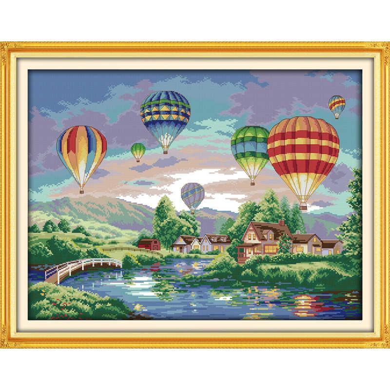 カラフルな風船diyハンドメイド刺繍ステッチセットキット刺繍家の装飾の風景クロスステッチパターン送料