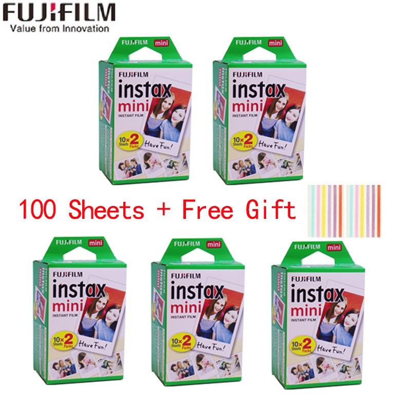 10-100 Листы Fuji Fujifilm 3 дюймов с белым краем и Плёнки для камеры Мгновенной Печати Instax Mini 11/9/8/7 + Камера фотобумага